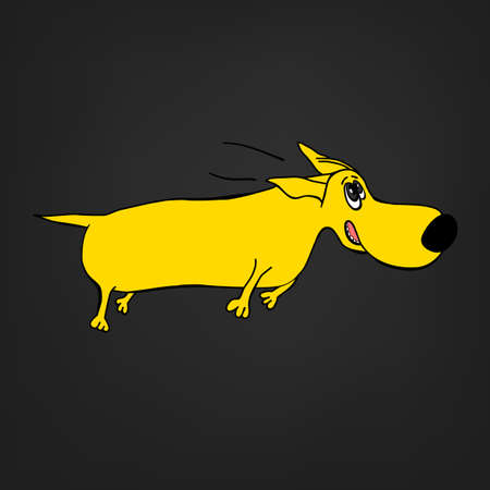 Cute yellow dachshund dog in cartoon style