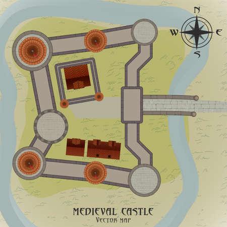 Medieval castle map. Vector illustration in flat style. Illustration