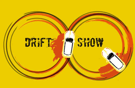 Drifting car top view for posters