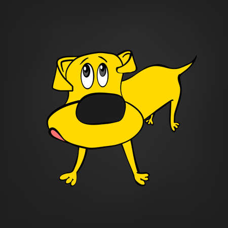 Cute yellow dachshund dog in cartoon style isolated on dark grey background. Unique vector illustration. Funny character.