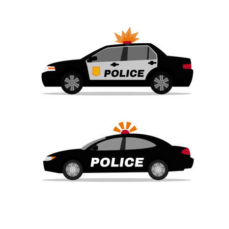 Police patrol cars illustration.