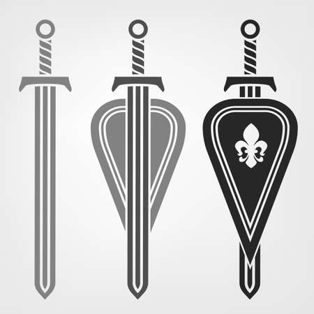 Swords and shields heraldic design.