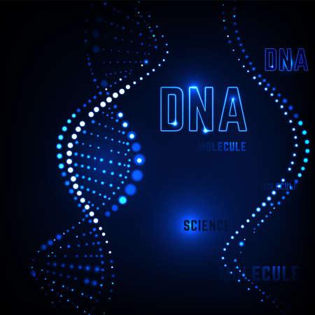 Glowing neon DNA chain. Stock Illustratie