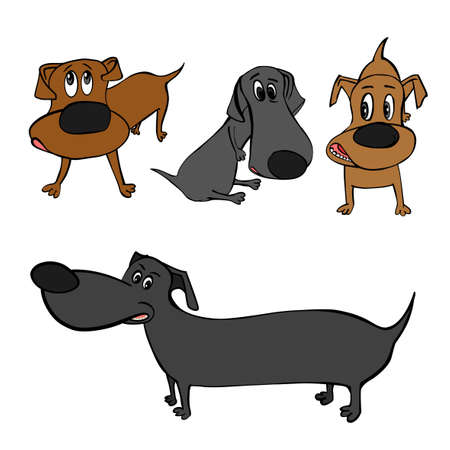 Cute colourful dachshund dogs in cartoon style.