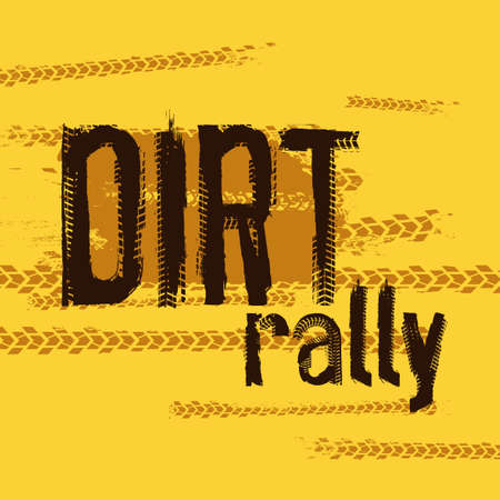 Off-Road 4x4 hand drawn grunge lettering. Tire tracks words made from unique letters. Beautiful vector illustration. Editable graphic element in yellow and brown colours.  Illustration