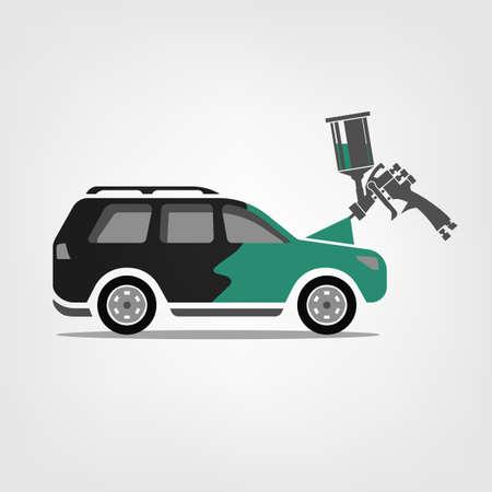 Pintura de aerógrafo de carro. Ilustração em vetor de um processo de reparo do corpo de carro. Conceito automotivo útil para um design de pictograma, ícone, logotipo ou tabuleta. Imagem de transporte nas cores cinza e verdes. Foto de archivo - 90304149