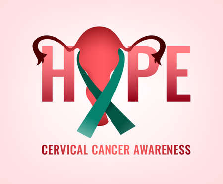 Cervical cancer awareness month lettering. Beautiful vector symbol useful for cervix carcinoma day design. Tolerance, sympathy and healthcare concept. Hope, fight and support idea.