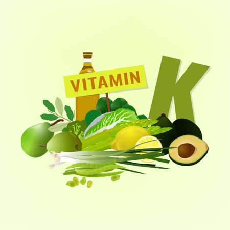 Foods containing vitamin K on a light beige background. Source of menadiol - vegetables, salads, greens, fruits, oils. Medical, healthcare and dietary creative concept. Vector illustration.