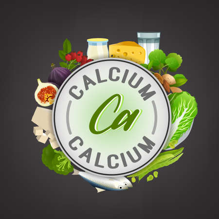Calcium banner. Beautiful vector illustration with caption lettering and top foods highest in calcium isolated on a dark grey background. Useful for leaflet, brochure or poster design 向量圖像