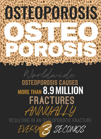 Osteoporosis in the world. Healthcare, medicine and early prevention concept. Vertical poster. Vector illustration with beautiful typography in beige, bronze, grey and white colors.