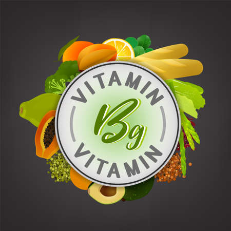 Vitamin B9 banner. Beautiful vector illustration with caption lettering and top foods highest in vitamin B9 isolated on a dark grey background. Useful for leaflet, brochure or poster design as a header or other graphic element.  Illustration