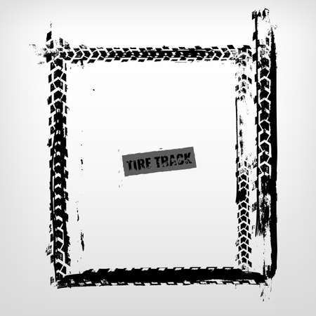 Grunge tire track frame in square shape. Beautiful vector illustration in dark grey colour isolated on a white background.