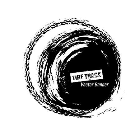 Vector automotive circle banner template. Grunge tire tracks background element for off-raod and extreme design. Editable graphic image in black and white colors