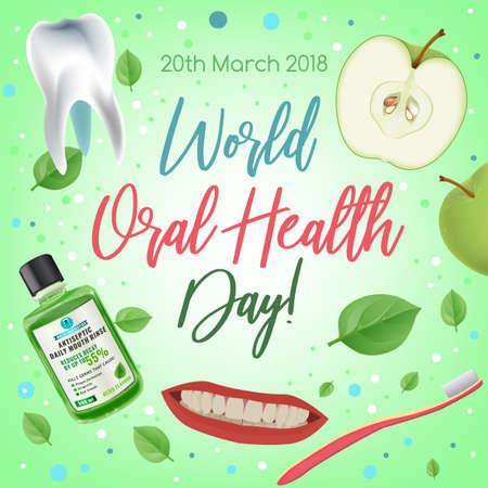 World oral health day design idea with healthy smile image. Medical, dental and healthcare creative concept. Vector illustration in modern style with beautiful lettering.