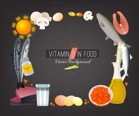 Vitamin D vector illustration. Foods containing ergocalciferol on a dark grey background. Source of antirachitic vitamin : raw milk, eggs, fish, oils. Medical, healthcare and dietary creative concept.