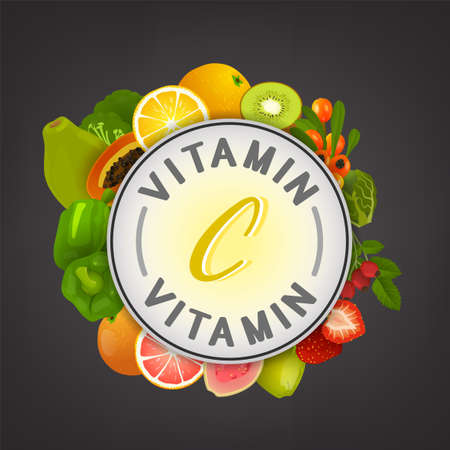VitaminC banner. Beautiful vector illustration with caption lettering and top foods highest in vitamin C isolated on a dark grey background. Useful for leaflet, brochure or poster design as a header or other graphic element.  Illustration
