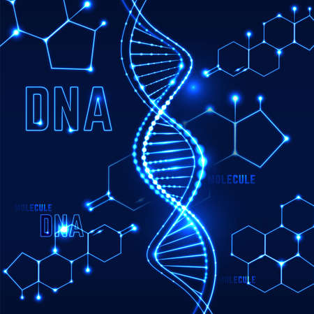 Molecule background image. Scientific, medical and chemical concept with DNA shape in futuristic style. Beautiful editable vector illustration in vibrant blue colors.