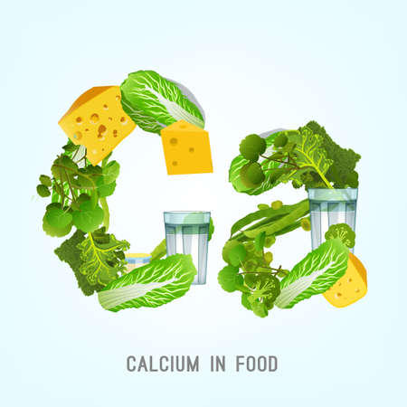 Vegetables, greens and dairy products highest in Calcium composing CA letters shape.