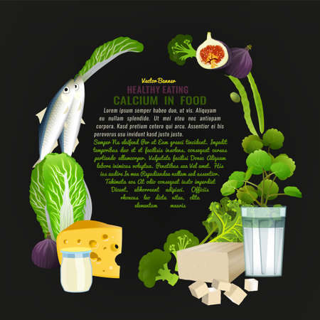 Calcium in food template. Print, leaflet, poster design with top Ca foods - greens, dairy products, fruits, nuts and fish and a copyspace for your text. Beautiful vector illustration