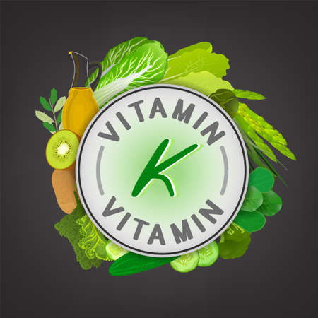 Vitamin K banner. Beautiful vector illustration with caption lettering and top foods highest in vitamin K isolated on a dark grey background. Useful for leaflet, brochure or poster design as a header or other graphic element.