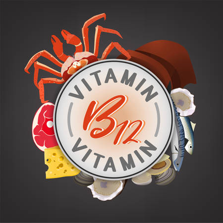 Vitamin B12 banner. Beautiful vector illustration with caption lettering and top foods highest in vitamin B12 isolated on a dark grey background. Useful for leaflet, brochure or poster design as a header or other graphic element.  Illustration