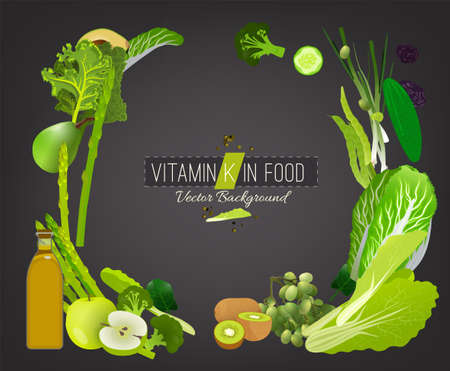 Foods containing vitamin K on a dark grey background. Source of menadiol: vegetables, beans, greens, fruits. Medical, healthcare, gastronomy and dietary creative concept. Vector illustration.