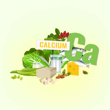 Illustration of top foods rich with Calcium on light background. Illustration