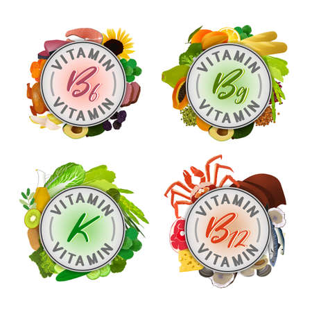Set of vitamin banner decorated with top foods sources isolated on a light background. Illustration
