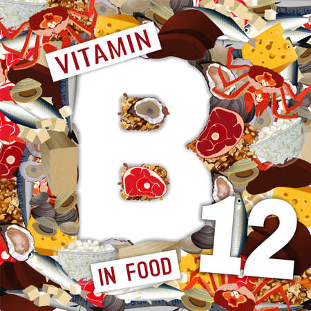 Foods containing vitamin B12 colorful background. Vectores
