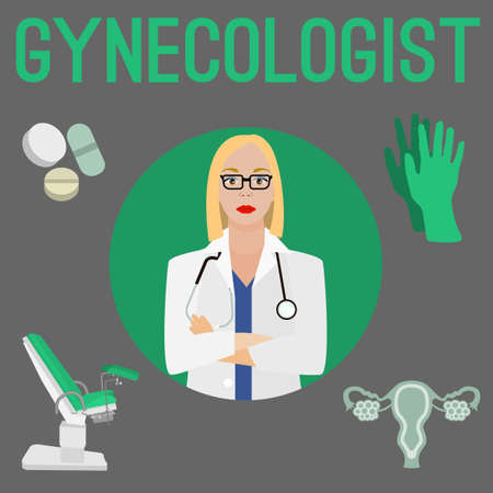 Gynaecoloog en haar professionele hardware in vlakke stijlillustratie.
