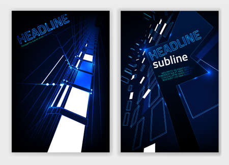 Business brochure cover template in dark blue and white glowing colors.