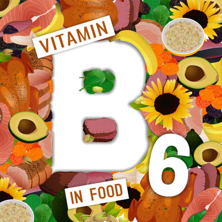 Foods containing vitamin B6 colorful background. Stock Illustratie