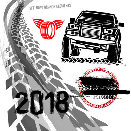 Different off road elements useful for rally and race poster design. Illustration