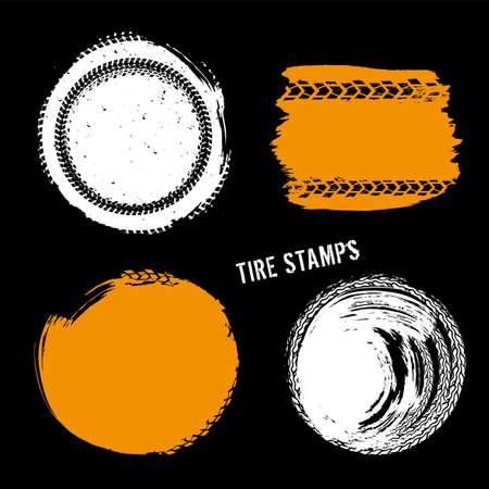 Grunge off-road post and quality stamps. Automotive elements useful for banner, sign, logo, icon, label and badge design . Tire tracks textured vector illustration.