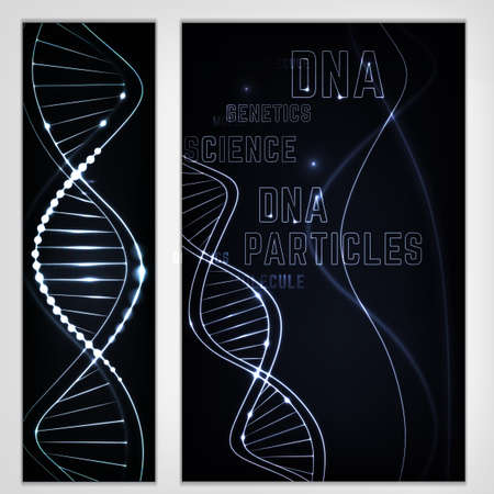 DNA vertical banners set. Scientific, medical and chemical concept with glowing DNA shape in futuristic style. Beautiful editable vector illustration in dark grey colors. Illustration