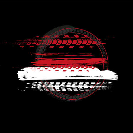 Grunge off-road post and quality stamp. Automotive element useful for banner, sign, logo, icon, label and badge design . Tire tracks textured vector illustration isolated on dark background.