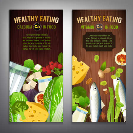 Vertical banner layouts. Source of Calcium - vegetables, salads, greens, fruits, dairy products on a wooden background. Medical, healthcare and dietary creative concept. Vector illustration.