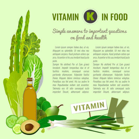 Vertical layout with different food, containing vitamin K: vegetables, greens, fruits, oils. Medical, healthcare and dietary concept. Vector illustration useful for poster, leaflet, print design.