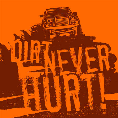 Off-Road hand drawn grunge lettering with a car image. Tire tracks words made from unique letters. Beautiful vector illustration. Editable graphic element in orange colours.  イラスト・ベクター素材