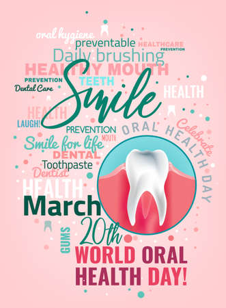 World oral health day poster idea with cloud of words and healthy tooth image.