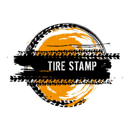 Grunge off-road post and quality stamp. Automotive element useful for banner, sign, logo, icon, label and badge design . Tire tracks textured vector illustration isolated on white background. Ilustração
