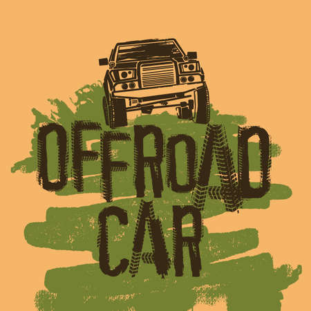 Off-Road hand drawn grunge lettering with a car image. Tire tracks words made from unique letters. Beautiful vector illustration. Editable graphic element in black and grey colours.  Illustration