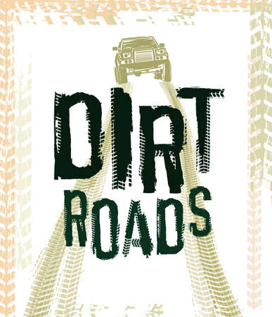Off-Road hand drawn grunge lettering. Tire tracks words made from unique letters. Beautiful vector illustration. Editable graphic element in orange and black colours.