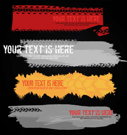 Vector automotive banners template. Grunge tire tracks backgrounds for landscape poster, digital banner, flyer, booklet, brochure and web design. Editable graphic image in grey, yellow and red colors