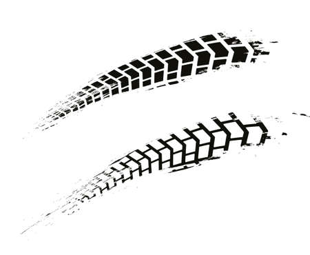 Motorcycle tire tracks vector illustration. Grunge automotive background element useful for poster, print, flyer, book, booklet, brochure and leaflet design. Editable graphic image in white and gray colors.
