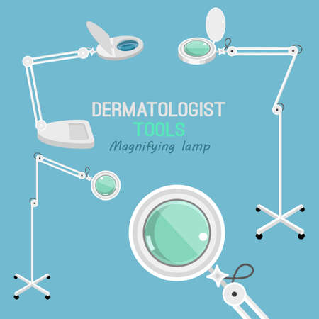 Dermatologist equipment set. Different cosmetic magnifying lamps.Dermatology and cosmetology concept. Vector illustration isolated on a light blue background. Ilustracja