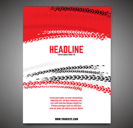 automotive print template. Grunge tire tracks background for landscape poster, digital banner, flyer, booklet, brochure and web design. Editable graphic image in black, white and red colors