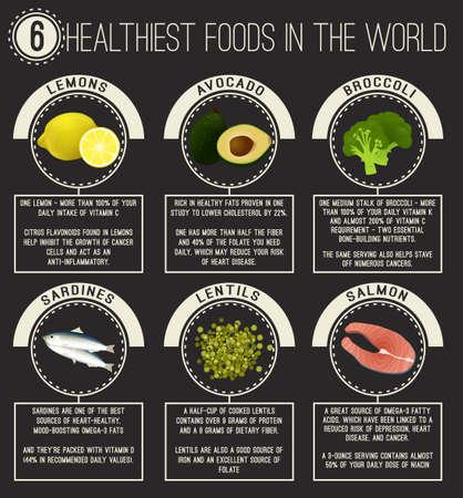세계에서 가장 건강에 좋은 6 가지 음식. 레몬, 아보카도, 브로콜리, 렌즈 콩, 연어, 정어리. 유용한 사실이있는 벡터 일러스트