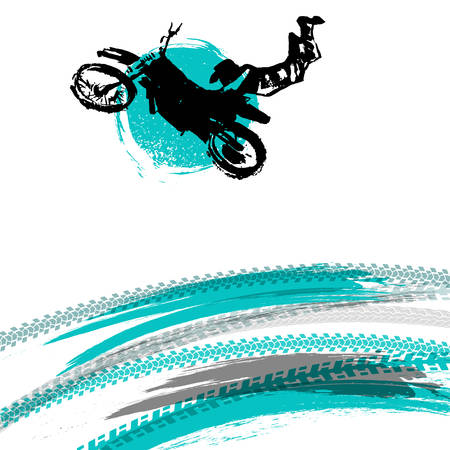 Vector automotive element template. Grunge motorcross background for landscape poster, digital banner, flyer, booklet, brochure and web design. Editable graphic image in blue, white and black colors