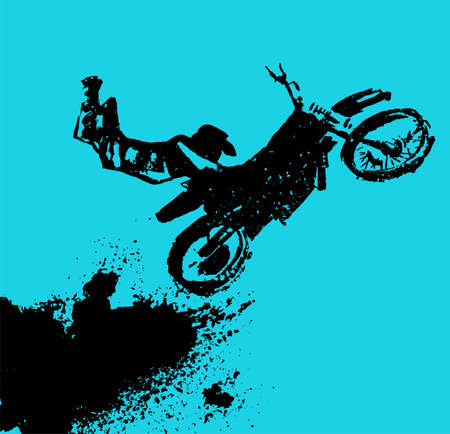 Vector automotive element template. Grunge motorcross background for landscape poster, digital banner, flyer, booklet, brochure and web design. Editable graphic image in blue and black colors